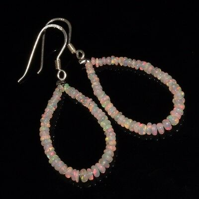 925 Sterling Silver Handmade Natural Ethiopian Fire Opal Earrings Beads 573