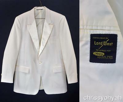 VTG 80s Lord West Off White Ivory Dinner Jacket Tuxedo Dinner Jacket Blazer 38S