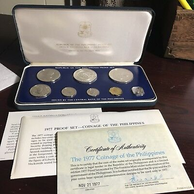 Philippines 1977  8-Coin Proof Set With Case, Certificate & Literature Complete
