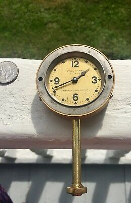 Vintage Waltham Watch Clock Company Automobile Dash Clock 8 Day - Working