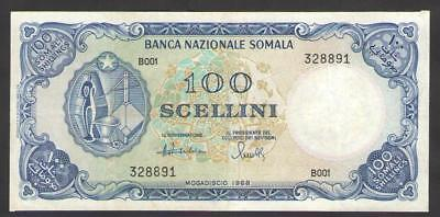 SOMALIA   100  SHILLINGS  1968   P.12   Circulated = about XF