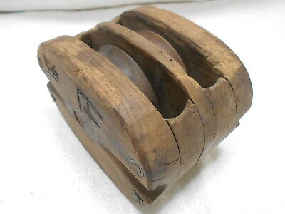Vintage Wooden Ship's Pulley Two Wooden Wheels Japanese Medium #186