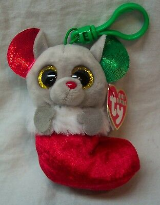 """TY Baby Beanies BUNDLES MOUSE IN CHRISTMAS STOCKING 3"""" Plush KEYCHAIN CLIP NEW"""