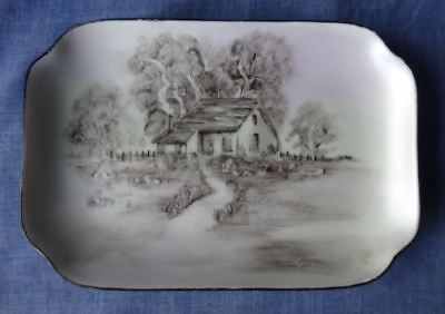 Vintage Hand Painted / Decorated Porcelain Dish / Tray / Plate, Bush Hut, Signed