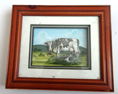 Paper Tole Picture  - Mother Cow And Calf Framed Paper Tole