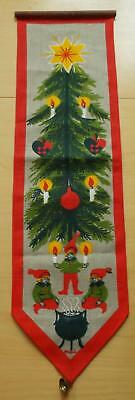 Swedish Xmas: Printed bellpull with santas and Christmas tree, hanger and bell