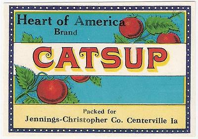 Heart of America Brand Catsup Label  Jennings - Christopher Centerville, Iowa