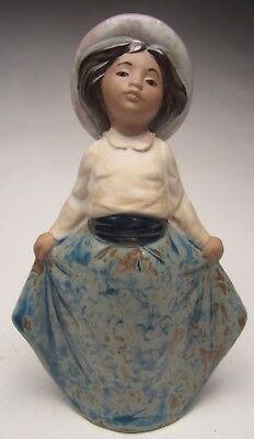 """Lladro Nao Young Lady in Bonnet #E16M Earthenware 6 ¾"""" tall Made in Spain No Box"""