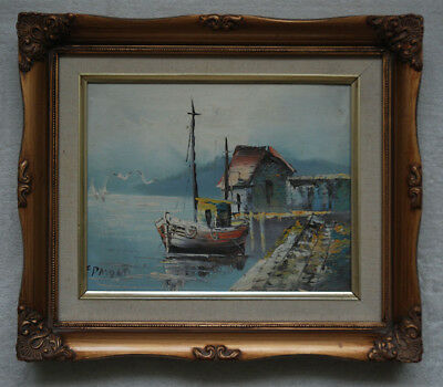 Oil Painted Canvas Moored Fishing Boat  Picture Vintage Ornate Gold Gilt Frame