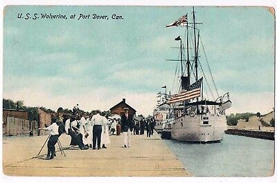 CANADA - PADDLE STEAMER U.S.S. WOLVERINE, AT PORT DOVER, ONRARIO, 1900s