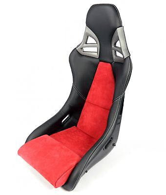 Carbon sports-seat in 997-gt3-look LEATHER ALCANTARA BLACK RED - Real Carbon