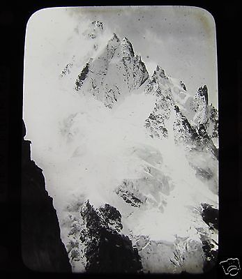 Glass Magic Lantern Slide VIEW FROM THE PETIT CHARMOZ  C1890 MONT BLANC FRANCE