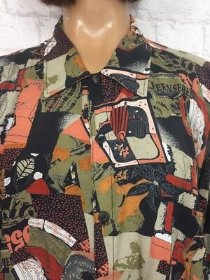 ❤️ Vintage UNISEX 90's Abstract Black Bright Hipster Blogger Oversize Shirt
