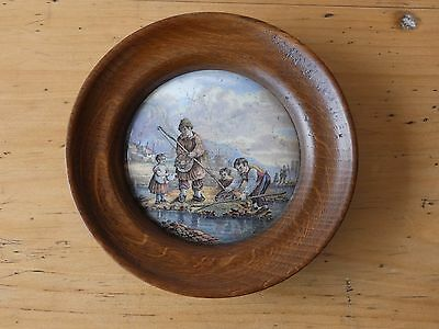 Antique Prattware Pot Lid no 63 The Shrimpers