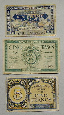 French ALGERIA & MOROCCO 1 & 5 Francs 1942,1943,1944 - Lot of 3 Notes, NR!