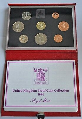 UK PROOF 8 COIN YEAR SET, 1984, £1 T0 ½p, WITH COA, IN DELUXE RED LEATHER CASE