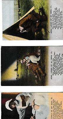 Jesu, lover of my soul (WW1, wounded soldier, nurse) - 3 Bamforth post cards