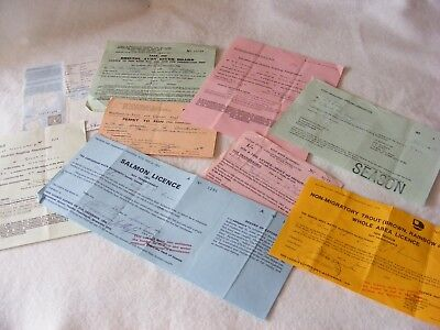 VINTAGE COLLECTABLE FISHING ROD PERMIT LICENSE 1950's/1970's SALMON CHAR X 9