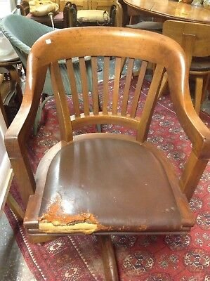Vintage Wooden Swivel Captains Desk Chair With Leather Seat