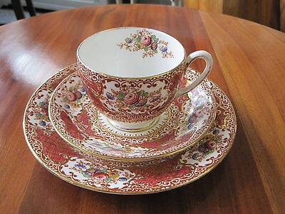Pretty Wild Bros Floral & Gilt Trio Cup Saucer Side Plate