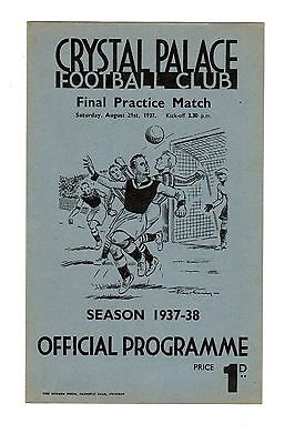 Crystal Palace Practice Match Red & Blue Stripes v Whites 21.8.1937 Friendly