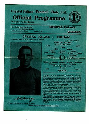 Crystal Palace v Fulham 26.4.1933 Albert Harry Benefit Match