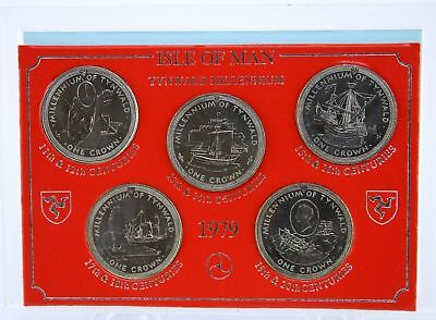1979 Isle of Man 5 One Crown Brilliant Uncirculated Coin Set 11th - 20th Century