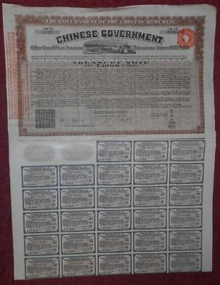 31262 CHINA 1919 8% 'Vickers' Sterling Loan £1000 Treasury Note with coupons
