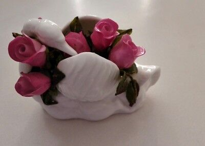Small Vintage Crown Staffordshire Fine Bone China White Swan with roses posy