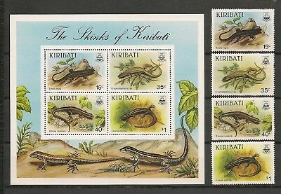 Kiribati 1987 Wildlife Fauna Animals Tiere Dieren Reptile Skinks set + MS MNH
