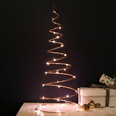30cm Battery Power LED Copper Spiral Christmas Tree | Table Decor Home Indoor