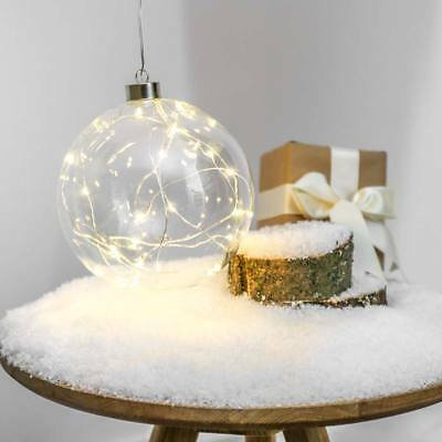 15Cm Indoor Battery Operated Silver Wire Christmas Glass Hanging Bauble Ball