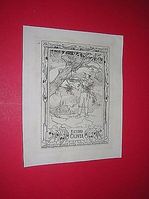 BOOKPLATE. circa 1890s. VICTORIAN. ART NOUVEAU DESIGN. RICHARD OLIVER