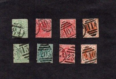 QV/EDVII.8xSTAMPS.ENGLISH NUMERAL CANCELS.Nos.84.103.104.114.135.205.230.240.