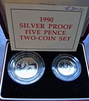 Five Pence 5p 1990 SILVER PROOF Double set