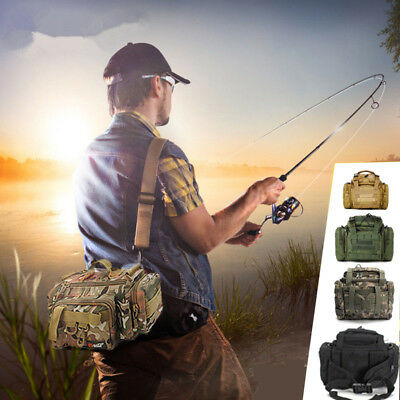 Fishing Tackle Bag Pack Waist Shoulder Bait Box Boat Pouch Case Reel Lure Gear