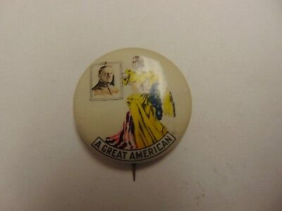 Old Rare Vintage Button  Pinback 1914 General Pershing A Great American