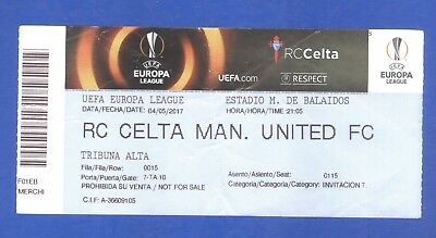 RC Celta Vigo v Manchester United Europa League 2017 MATCH TICKET
