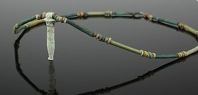 Beautiful Ancient Egyptian New Kingdom Faience Bead & Amulet Necklace (108)