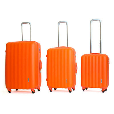 Set 3 Valigie Trolley Rigide in ABS 4 Ruote TSA Ravizzoni Icon Arancio
