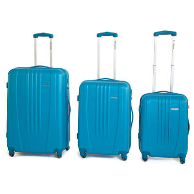 Set 3 Valigie Trolley Rigide in ABS 4 Ruote TSA Ravizzoni Jazz Blu