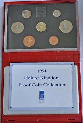UK PROOF 7 COIN YEAR SET, 1991, £1 T0 1p, WITH COA, IN RED LEATHER CASE FDC