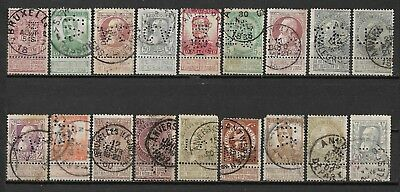 Belgium PERFIN, small group of 18 PERFINS