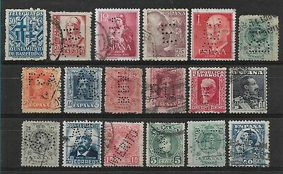 Spain PERFIN, small group of 18 PERFINS