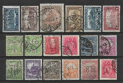 Hungary PERFIN, small group of 18 PERFINS (2)