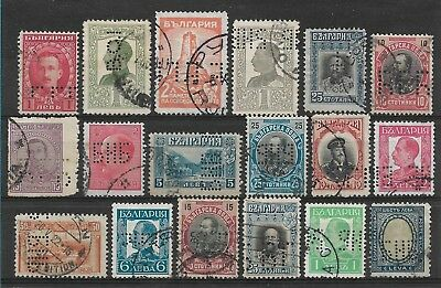 Bulgaria PERFIN, small group of 18 PERFINS
