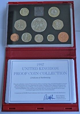 UK PROOF 10 COIN DELUXE YEAR SET 1997 £5 T0 1p,  WITH COA, IN RED LEATHER CASE