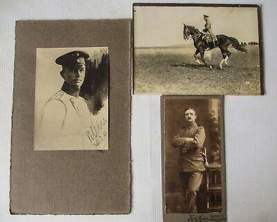 Ww1 Wwi Imperial German Photograph Lot - Mounted Officer Cabinet & Photo Sketch