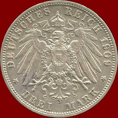1909 'A' Prussia Germany 3 Mark Silver Coin (16.667 grams .900 Silver)