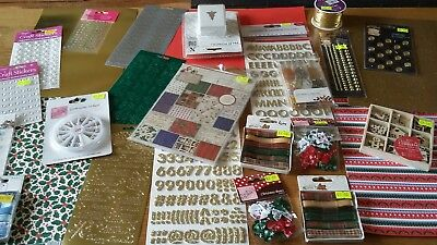 Over £50 worth Job Lot Christmas Crafts Bows Card Ribbon Embellishments Punch
